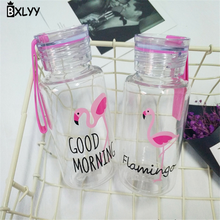 BXLYY Plastic Pink Flamingo Water Bottle 300ml Portable Sports Shaker