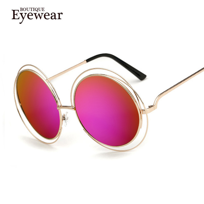 boutique women round wire frame reflective coating glasses vintage fashion summer cool sunglasses brand designer h1632