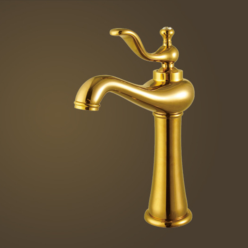 Free Shipping New product brass golden bathroom tap with high quality single handle gold bathroom basin sink water faucet fashion high quality brass bathroom widespread basin faucet double handle gold plating sink faucet free shipping