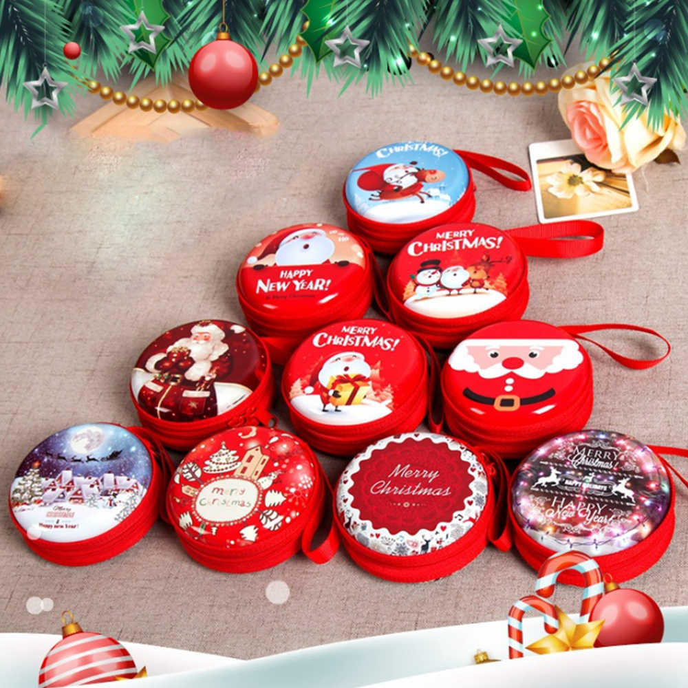 New Creative Christmas Gift Box Coin Purse Cute Portable Iron Cash Box Xmas Gift Case With Zipper