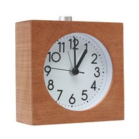 Charminer Silent Square Wooden Alarm Clock Desktop With Nightlight Snooze Battery Powered Wood Alarm Clock Top