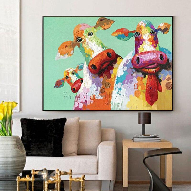 Pop art Animal toile peinture mur art photo pour salon maison mur décor acrylique épais texture abstraite vache quadro décor