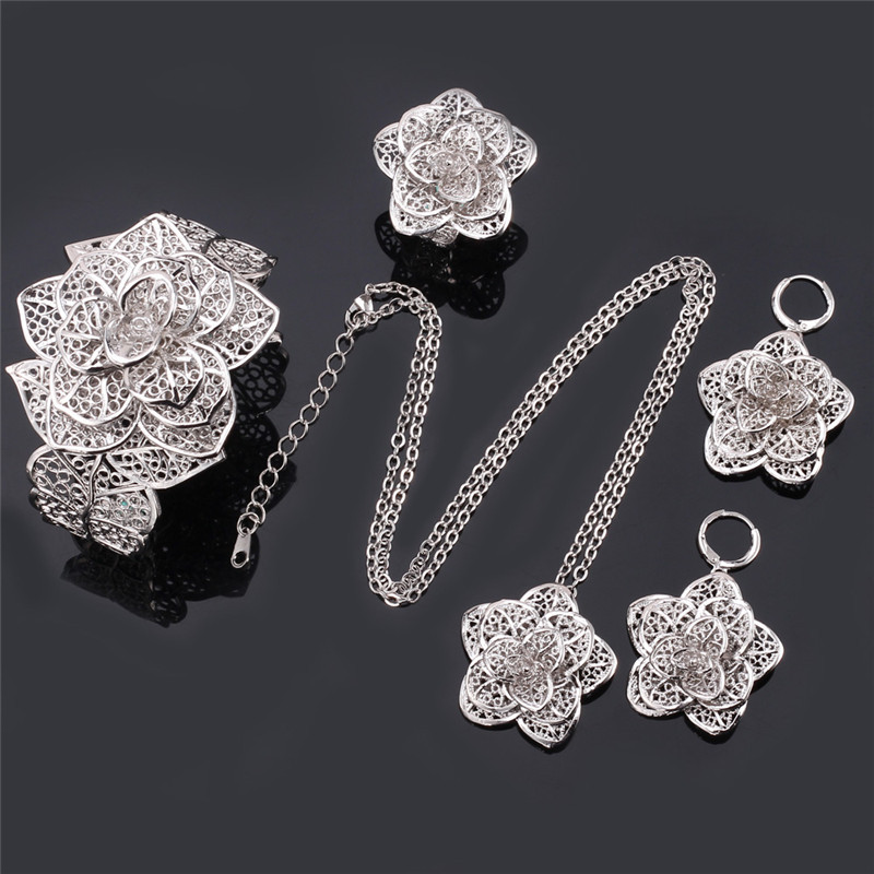 Image 5 - U7 Vintage Big Flower Jewelry Sets Gold Color Necklace Cuff Bracelet Earrings And Ring Bridal Wedding Jewelry For Women Gift S56set generatorset up tattoo machineset hat -