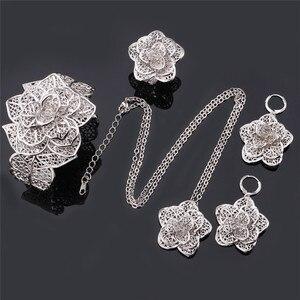 Image 5 - U7 Vintage Flower Jewelry Sets Gold Necklace Cuff Bracelet Drop Earrings & Ring Bridal Wedding Jewelry Set For Women Gift S56