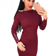 193ad5609c Favolook 2018 Spring Autumn Winter Women Sexy Knit Long Sleeve Bodycon Dress