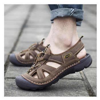 2019 Men\'s Summer Leather Outdoor Hiking Trekking Sandals Sneakers For Men Water Beach Sea Fishing Mountain Shoes Sandals Man