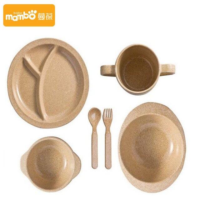 Кормление Завод Бамбук Зерна Посуда Bowl Cup Ложка Вилка Набор Посуды Посуда Детское Питание Посуда Рождественский подарок