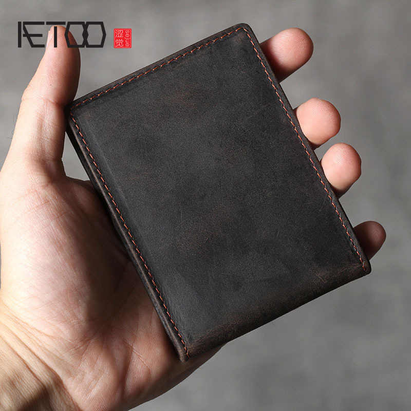 AETOO Retro cowhide ใบอนุญาต Pack handmade หนัง Multi-Card Pack