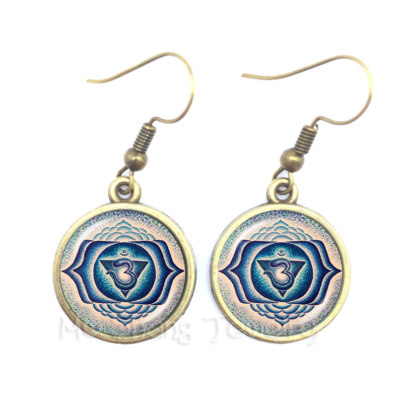 Om Ohm Aum Namaste Yoga Symbol Earrings Charming Bright Colorful Om Logo Pretty Indian Style Women Jewelry Gift Wholesale