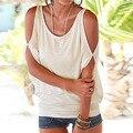 HQ Mulheres Verão Tshirt Ocasional Praia Sexy Ombro Off Tops Tops Elegantes Strapless Oco Out Manga Curta Tees XHH04584