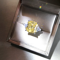Solid 18K White Gold 3ctw Yellow Radiant Moissanite Similar to Yellow Diamond Ring Fine gold jewelry for Women