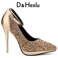 D & Henlu זהב נעליים לנשים נעליים עקב נעל פלטפורמת משאבות בלינג העקב נשי פלטפורמת משאבות פגיון saltos plataforma