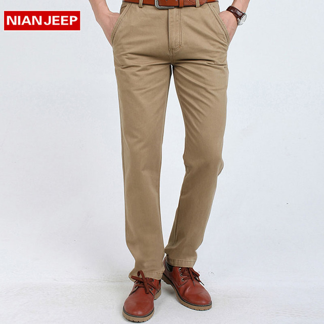 NIANJEEP High Quality New 2016 Long Cotton Skinny Male Business Pants Breathable Casual Men Straight Trousers Size 30-44