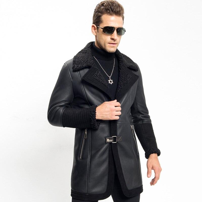 Aliexpress.com   Buy Menfolk Shearling Jacket Long Style Sheepskin Coat New  Style Wool Collar Genuine Leather Motorcycle Jacket Flight Outerwear from  ... c47beb4a5