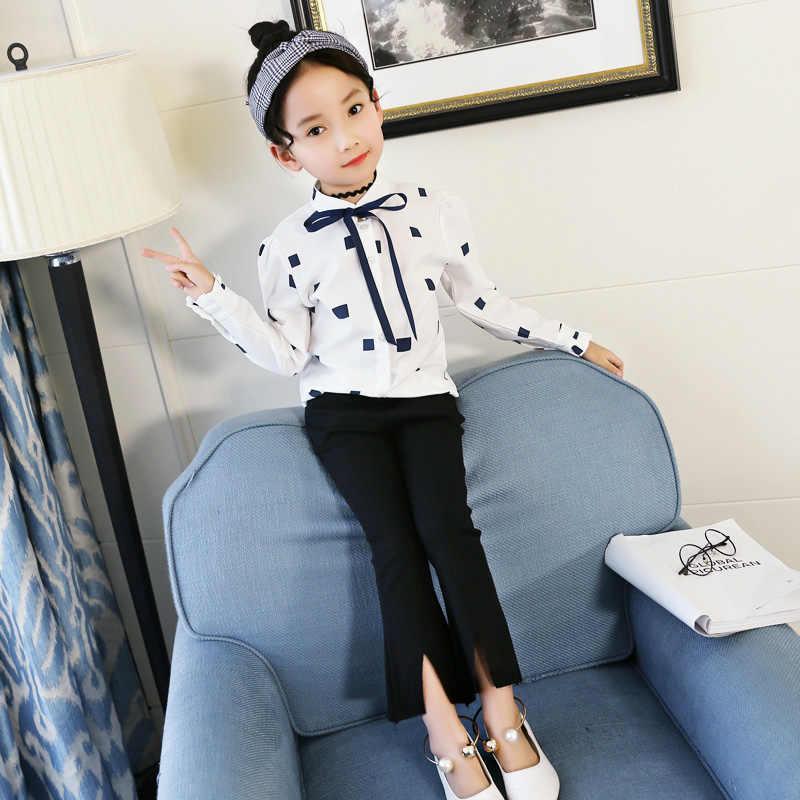 2018 novas meninas blusas & camisas de algodão branco manga longa bebê crianças roupas adolescentes meninas topos camisas vetement enfant fille 13 14