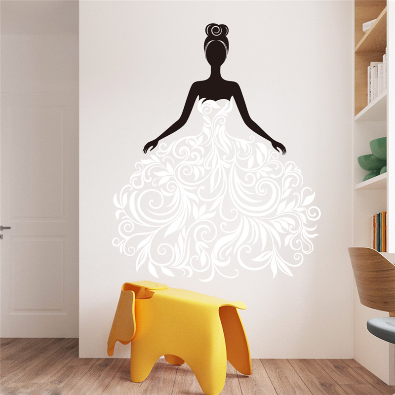Black Flower Vine Fashion Girl Wall Stickers Vinyl Home Decor Living Room Bedroom Sticker Mural Wall Stickers Kids Rooms Decal