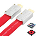 Alta velocidad hdmi 1.4a flat cable 1.4 v 1080 p hd ethernet 3d HDTV Red 1 M 1.5 M 2 M 3 M 5 M 10 M 15 M 20 M Regalo embalaje