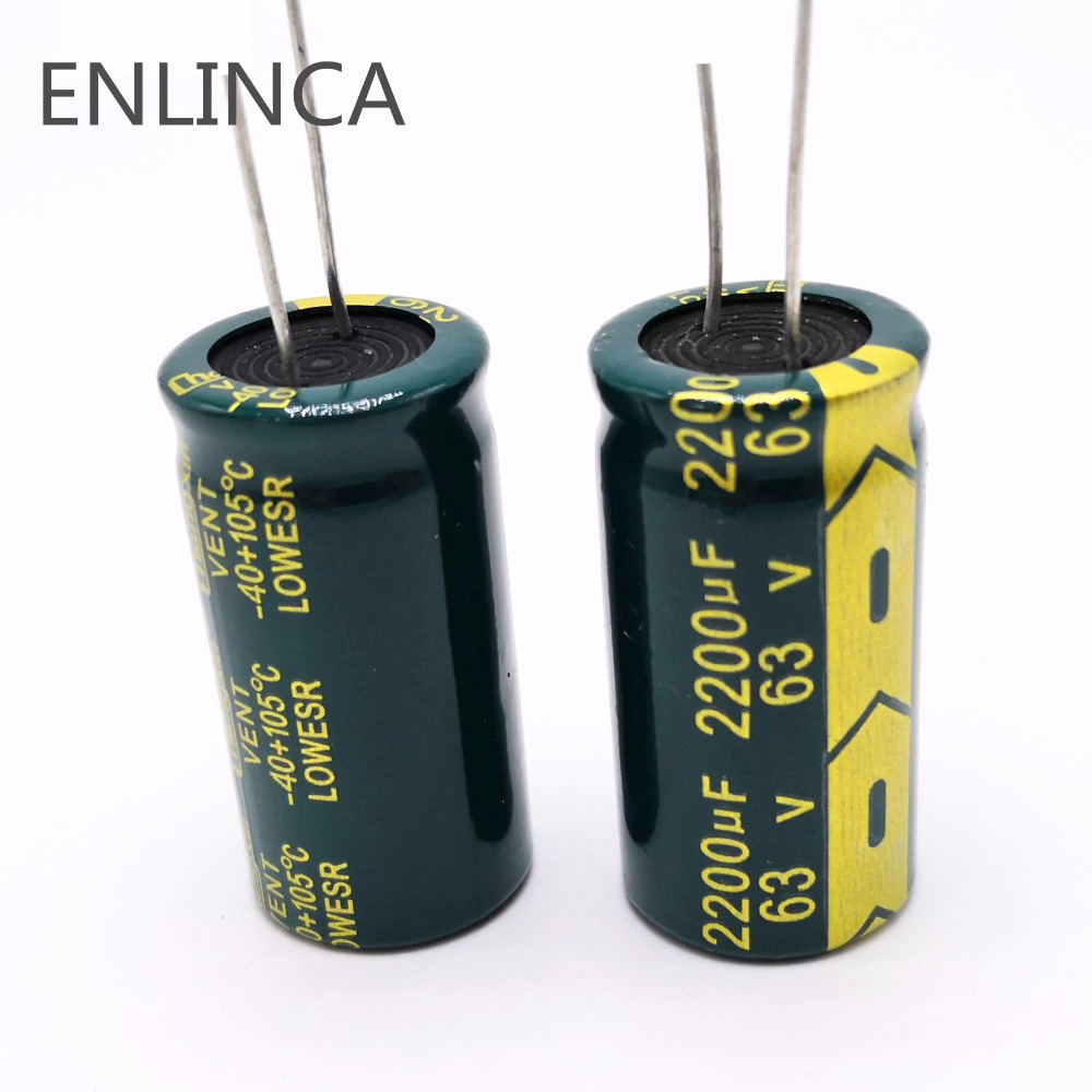 12pcs/lot H074 High Frequency Low Impedance 63V 2200UF Aluminum Electrolytic Capacitor Size 18*35 2200UF 63V 20%