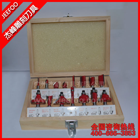 Shank Dia 6.35(1/4) &12.7(1/2) 15PCS One set new products wood drill bits/ woodworking router end mill