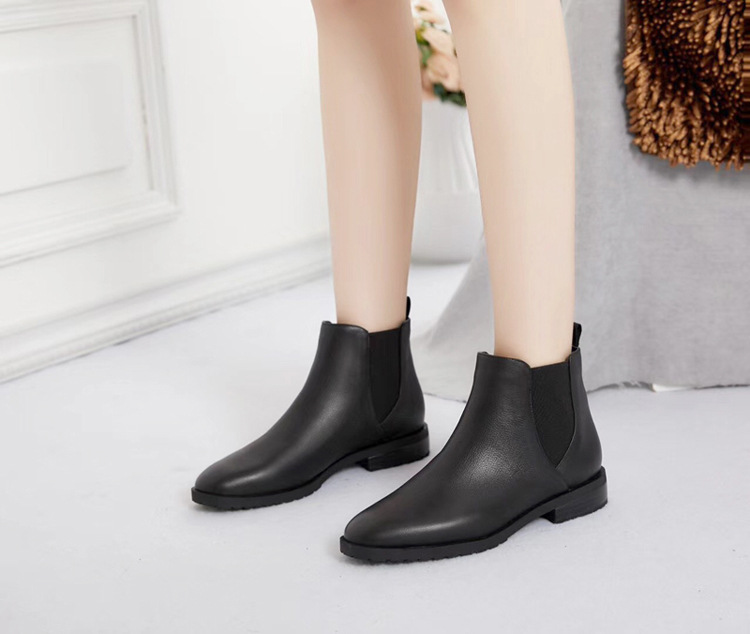 New Women's Shoes Fall And Winter Hot Europe And The United States Trend Chelsea Flat Round Head Women's Casual Natural Leather цена