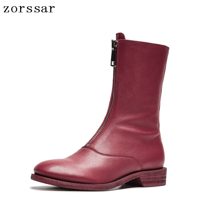 {Zorssar} 2018 New winter Women shoes High boots Soft Leather flat heel Mid-Calf Boots fashion Zipper Women Martin boots zorssar 2018 new fashion women martin boots cow suede comfort flats heel lace up mid calf boots autumn winter women shoes