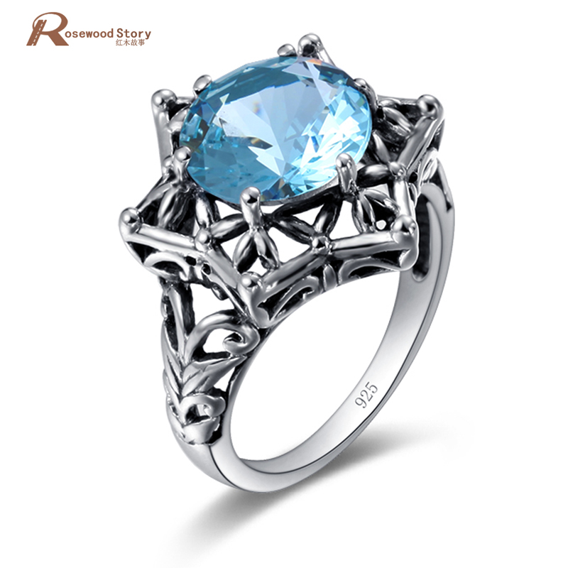 Wholesale Retro Women Rings Sky Blue Stones 925 Sterling Silver Crystal Femme Wedding Anniversary Ring Girls Vintage Jewelry