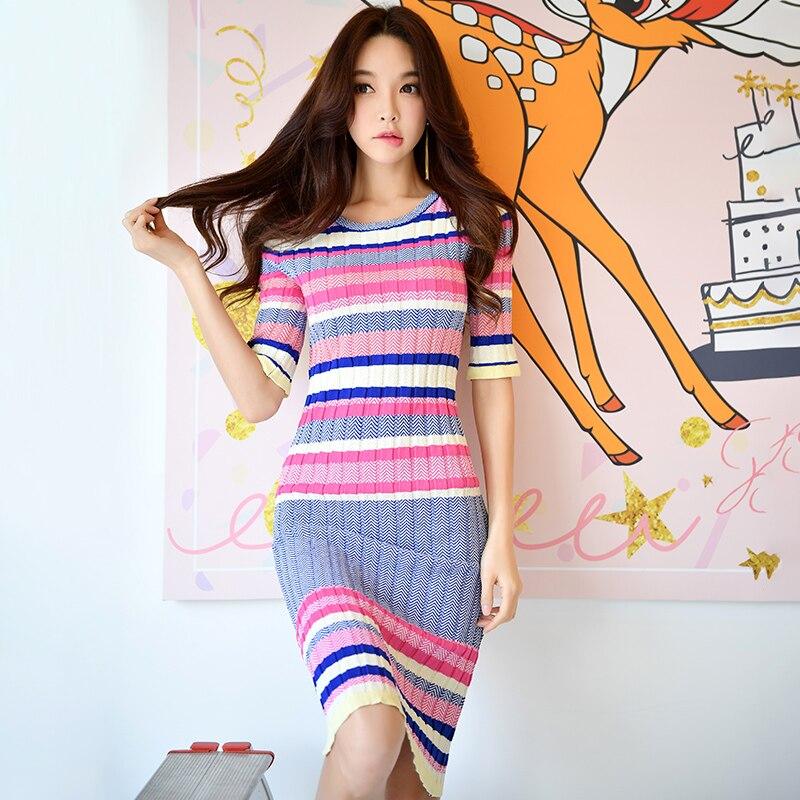 original 2018 brand spring new casual fashion half sleeve long striped sheath sweater knitted midi dress women wholesale