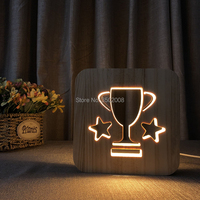 Wooden LED trophy hollow design night lamp warm light USB power lamp as creative gift or home hotel club decoration