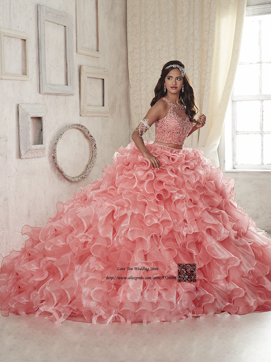 3fc8d1bab07 Coral Two Piece Quinceanera Dresses 2017 Online Vestido Debutante