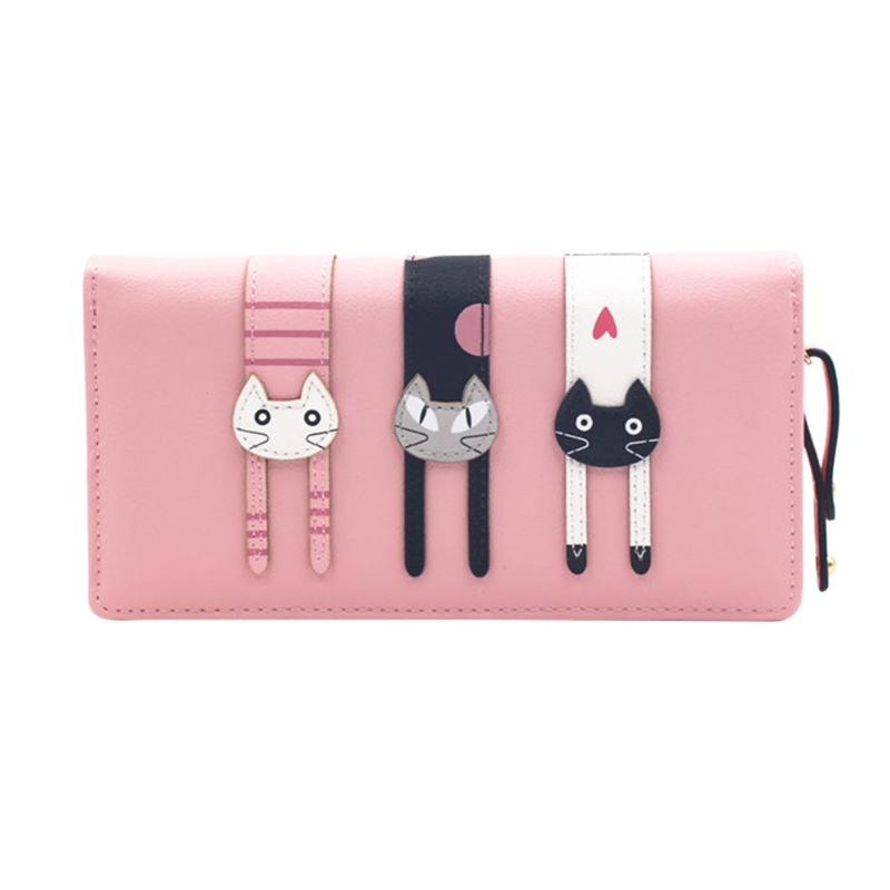 PU Leather Women Wallet Female Long Clutch Lady Walet Portomonee Rfid Luxury Brand Money Bag Magic Zipper Coin Purse Cat Wallets longmiao pu leather women wallet wristlet long zipper female purse luxury brand coin purse clutch designer card slot money bag
