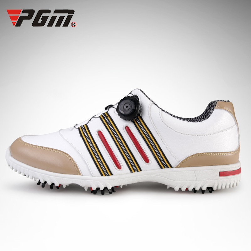 PGM Men Knobs Buckle Genuine Leather Golf Shoes Breathable Waterproof Golf Sneakers Removable shoe nail anti-skid Shoes genuine pgm golf shoes men waterproof xz937 rubber cotton fabric eva breathable beginner white zapatos de golf deporte golf shoe