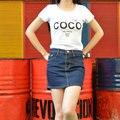 Moda Mujeres Shorts Faldas Mini Ablve Paquete cadera falda elástica flacos del Dril de Algodón Delgado Pantalones Vaqueros de La Muchacha y La Mujer Más Tamaño # bk