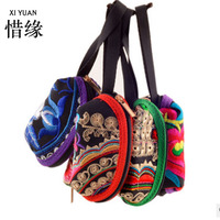 XIYUAN BRAND Fashion Women Handmade Folk Floral Embroidery Cotton Clutches Vintage Retro Ethnic Cell Phone Coin