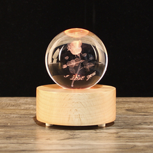 Crystal Ball Rose Laser Engraved Miniature 3D Model Glass Sphere Craft Home Decor Ornament Gift