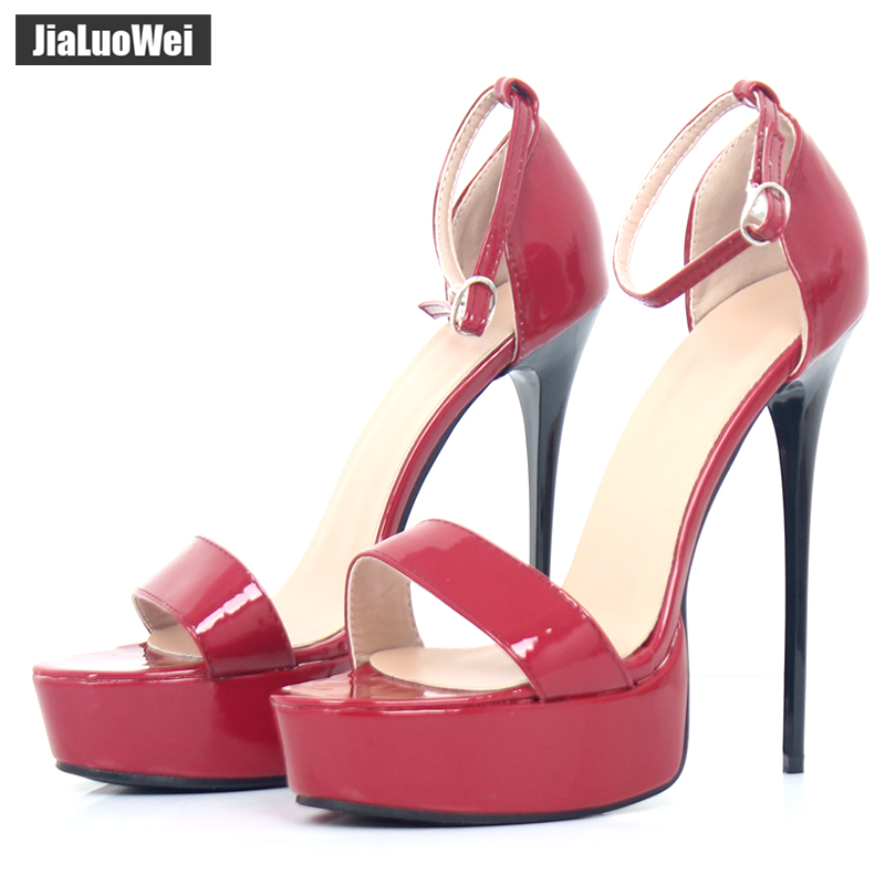 jialuowei Brand Sexy Sandals 16CM Super High Heel Platform Classics Pumps Women Peep Toe Stiletto High Heels Shoes Woman Sandals цена