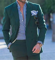 Custom Men Suit Double breasted green wedding gown tuxedo slim men's suit two piece jacket pants blazer