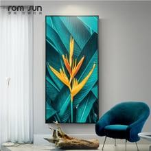 Нордический зеленый лист желтый цветок холст живопись растения настенные художественные картины для гостиной домашний декор современные плакаты и принты