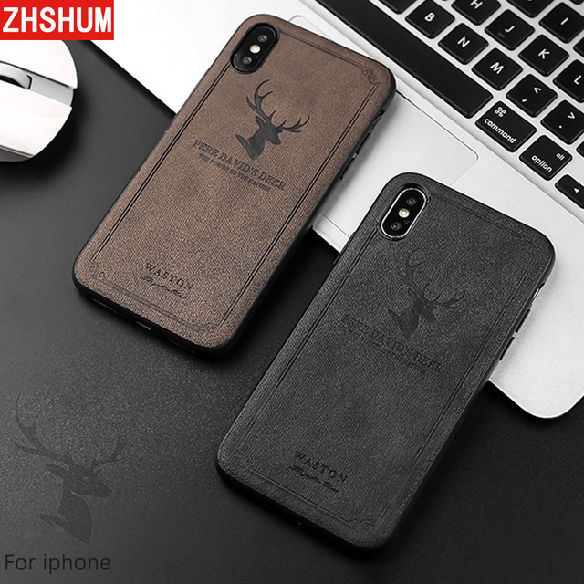 on sale a1bd5 0e299 US $3.29 25% OFF|3D Concave Case For Iphone X 7 8 Plus Iphone 6 6S Deer  Cute Pu Leather Cloth Case 360 Full Back Cover for Apple Iphone 10 6 S-in  ...