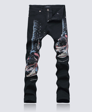 Hot sale  New Domineering 3D Piranha painted trousers fashion black slim denim jeans