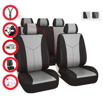 Car-pass Universal Car Seat Covers Auto Car Seat Protector Eye Bird Mesh Fabric Front Rear 11 PCS Airbag For Toyota Ford Nissan image