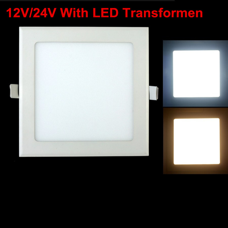 AC/DC <font><b>12V</b></font>/24V Ultra Thin Design 3W 6W 9W12W 15W 25W <font><b>LED</b></font> Ceiling Recessed Grid <font><b>Downlight</b></font> Square <font><b>LED</b></font> Panel Light free shipping image