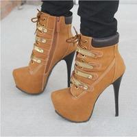 2018 Winter Sexy Women Lace Up 3cm Platform High Heel Boots Fashion Black Brown Gladiator Ankle Boots Stiletto Heels Women Boots