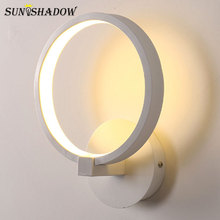 Free Shipping Modern Led Wall Light Black&White Aluminum Rings Sconce Lamp Living room Bedroom Bedside Fixtures
