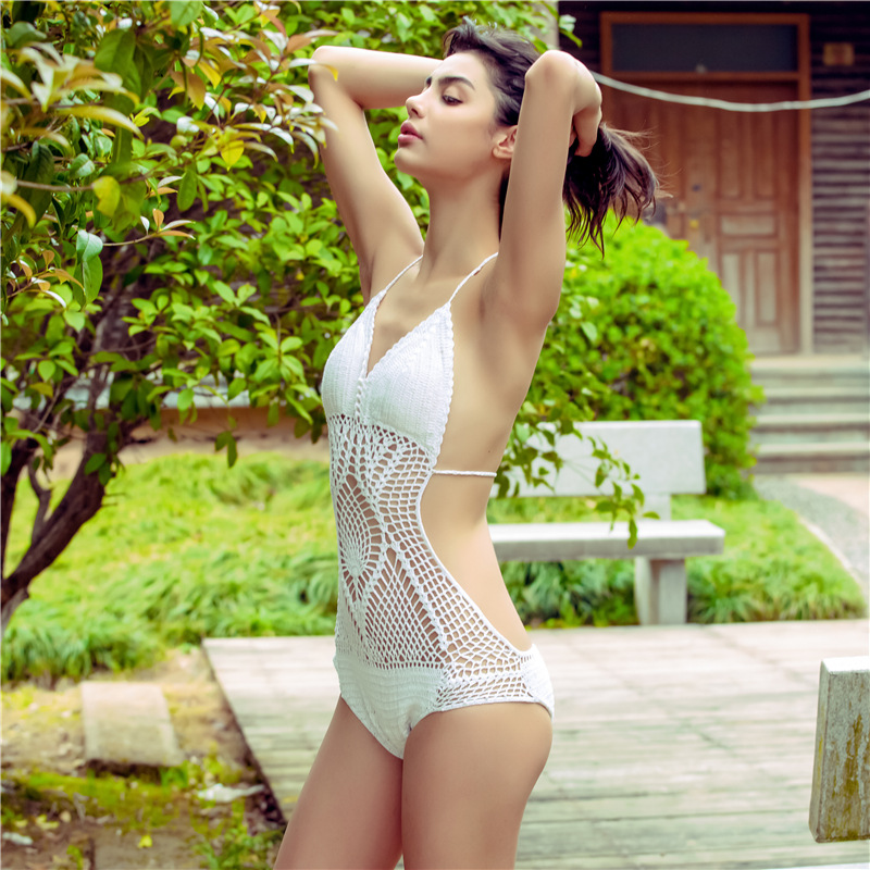2017 Women One Piece Suit Swimsuit Sets Handmade Crochet Knitting Halter Hollow Out Swimming Sets Retro Style Romper Bather knitting shell swimsuit brazilian national style crochet bikini handmade halter hollow out high neck swimwear shorts for women