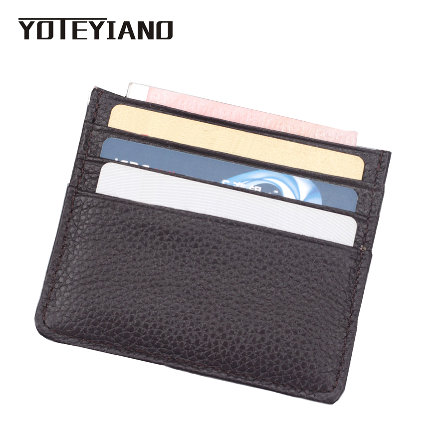 YOTEYIANO Mini Credit Card Holders Unisex Fashion Sort Genuine Leather ID Bank Card Package 6 Card Slot For Mens and Womens