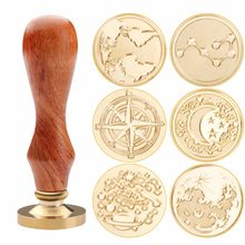 New Retro Wooden Stamp Antique Metal Sealing Wax Stamps Wood Handle Wedding Invitations Wax Seal Stamp Craft Wax Seal Stamp(China)