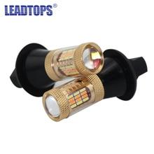 2 шт. высокое Мощность указатель поворота 54 smds T20 1156 12 В 30 Вт чип лампы автомобиль двойного Цвет LED DRL Передняя поворотов Тормозные огни для автомобиля быть
