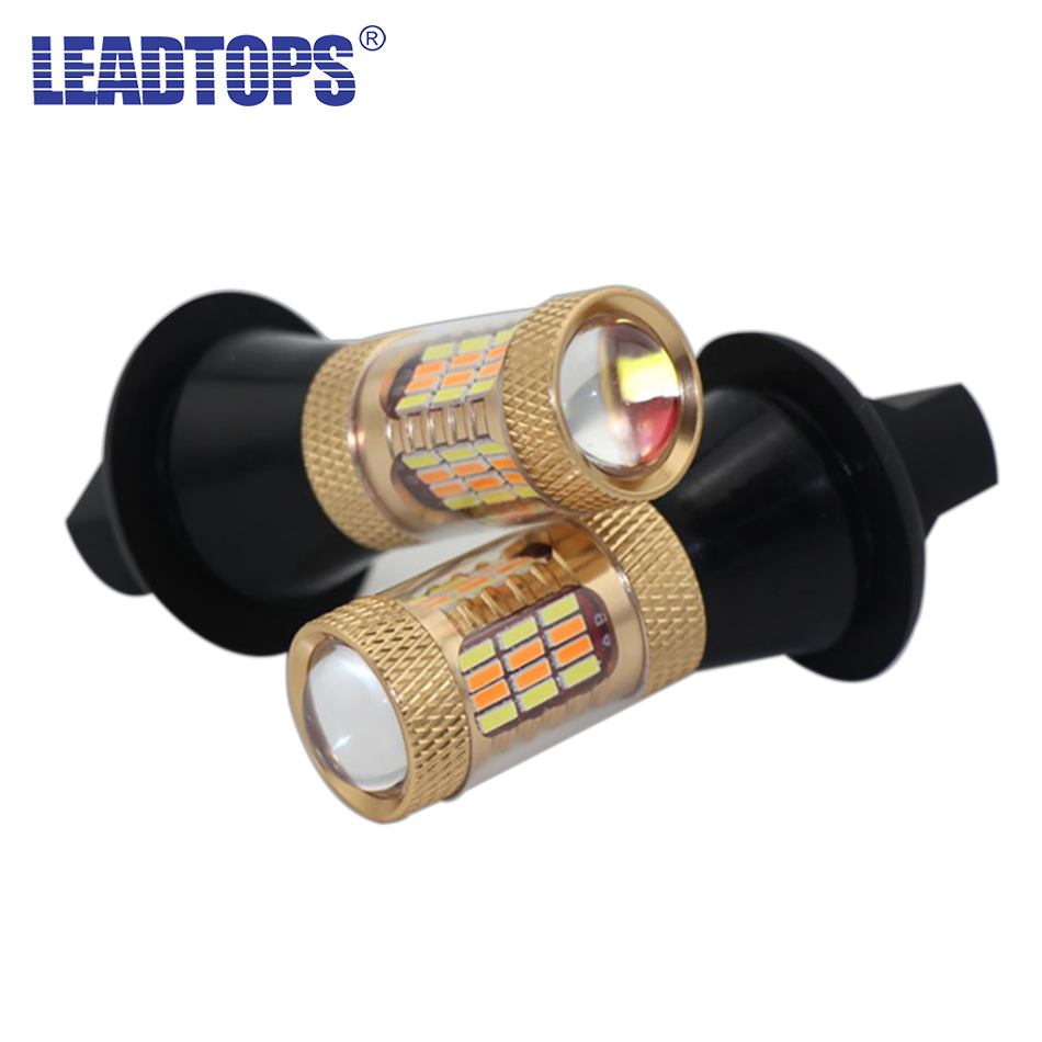 2pcs High Power Turn Signal Light 54 SMDS T20 1156 12V 30W Chip Lamp Car Dual-Color LED DRL Front Turn Signal Brake Lights BE