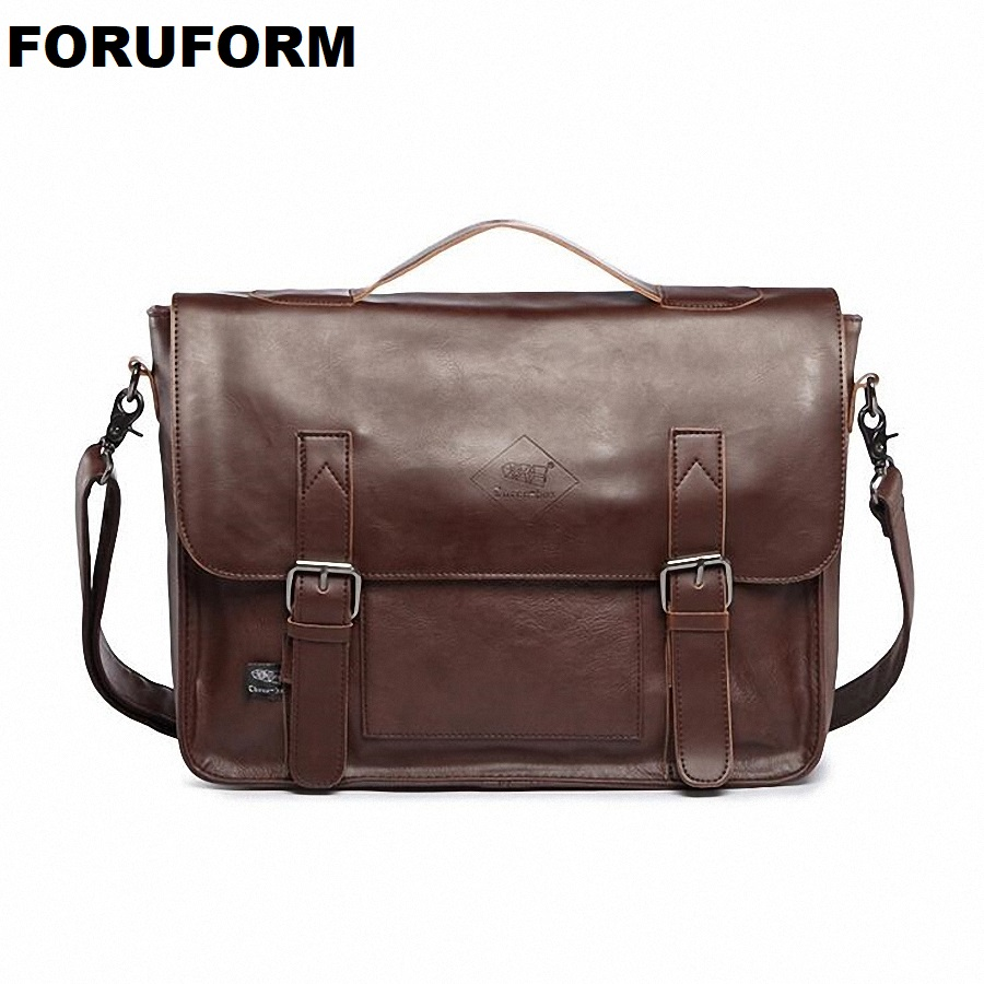 Hot selling Men bag Crazy horse PU Leather bags men Messenger Bags crossbody Shoulder men's travel bag briefcase LI-815