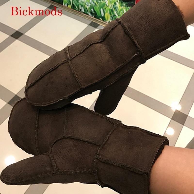 Sheepskin Wool Fur Leather Gloves Men's Shields Sweets Hard-cold Winter Warms Men's Fingers Leather Gloves